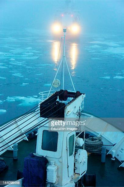 Cruise North Expedition Ship The Lyubov Orlova Follows Canadian Icebreaker Sir Wilfred Laurier Through Northwest Passage
