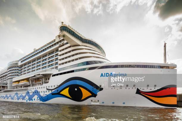 Cruise ship Aida prima in Hamburg harbour