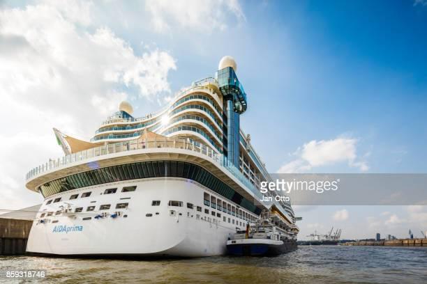 Cruise ship Aida prima in Hamburg harbour