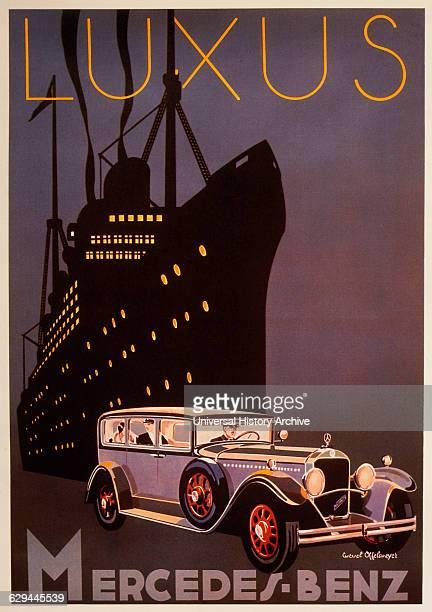 Cruise Ship and Automobile at Night MercedesBenz Advertisement circa 1929