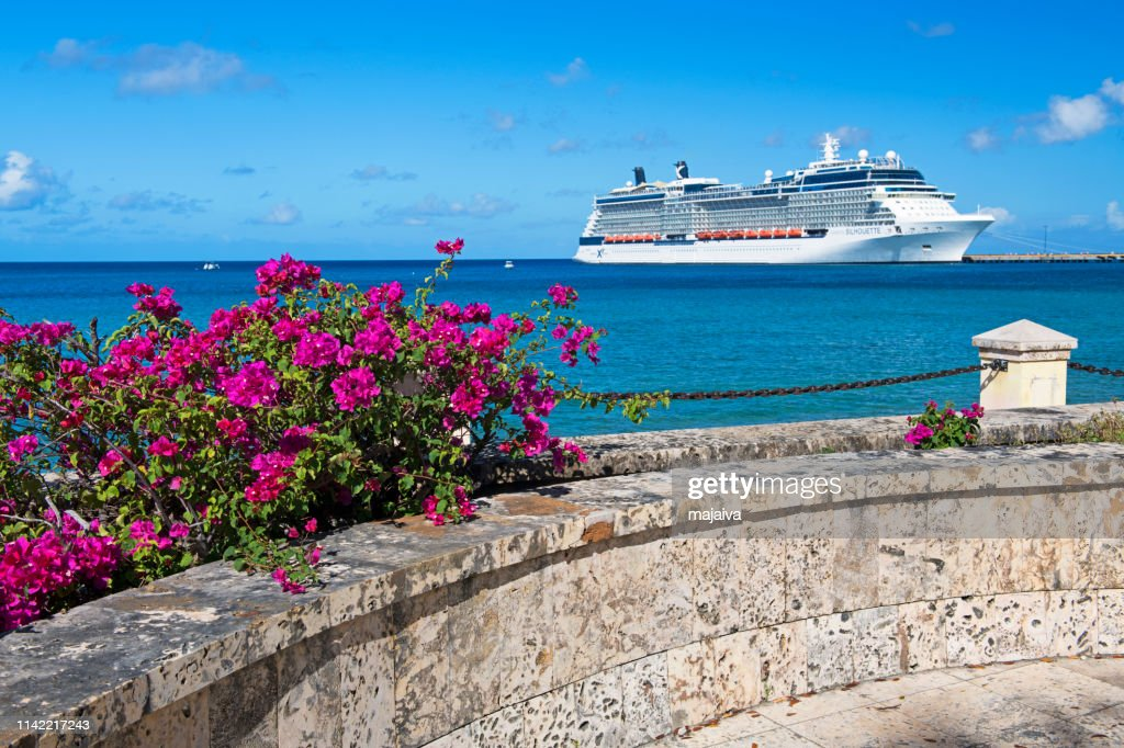 Cruise Ship and Blooming Bougainvillea, St. Croix : Stock Photo