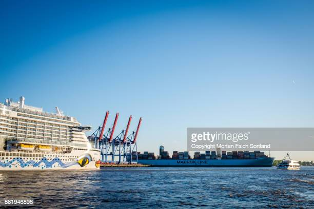 Cruise ship and container ship