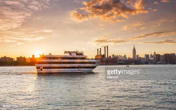 Cruise ship at sunset in New York