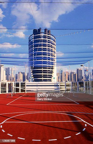 cruise ship basketball court and funnel - ship funnel stock photos and pictures
