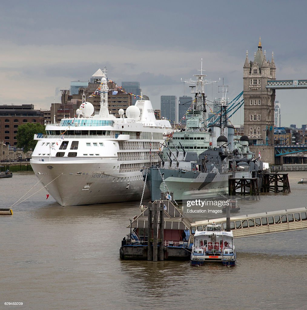 Cruise Ship Berthed Next To HMS Belfast On The River Thames London - Cruise ship in london