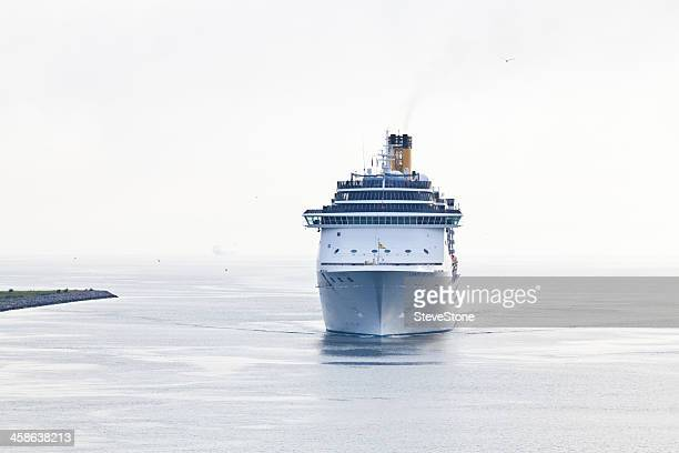 cruise ship costa altantica arriving copenhagen baltic - ship funnel stock photos and pictures