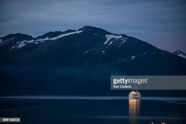 A cruise ship departs Whittier AK into Prince William Sound in the late evening August 24 2009 Photo Ken Cedeno