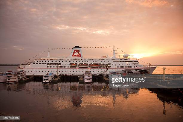 Cruise ship MS Deutschland and Amazon river boats