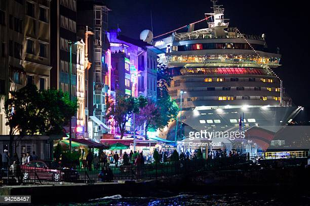 Cruise ship docked at the Karakoy side on October 18, 2009 in Istanbul, Turkey. The Turkish metropolis on the Bosphorus, in the past capital various...