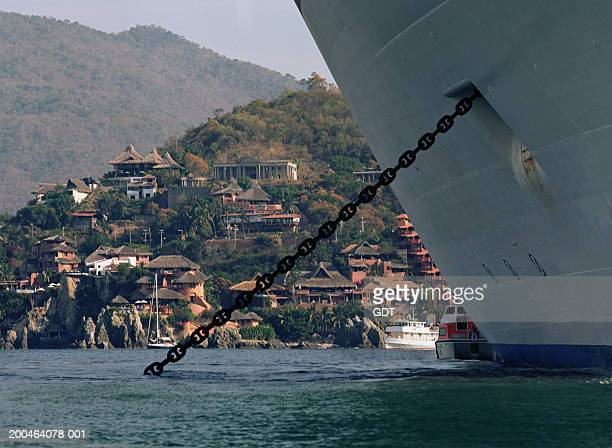 cruise ship docked in bay, zihuatenajo, mexico - moored stock pictures, royalty-free photos & images