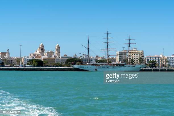 Cruise ship docked in harbour of Cadiz, Spain
