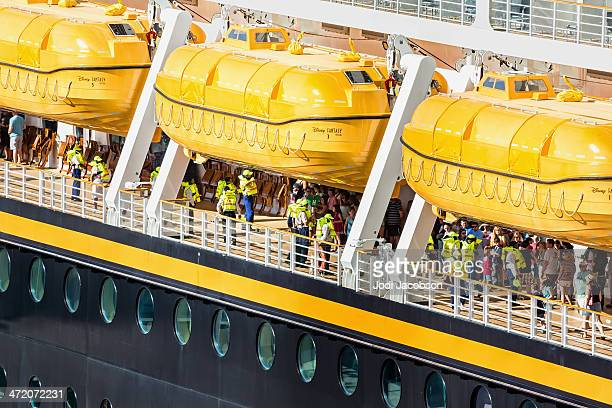 cruise ship docked in port canaveral, florida - lifeboat stock pictures, royalty-free photos & images