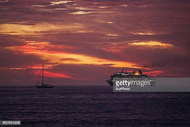 Cruise ship during the aunset at the Atlantic Ocean coast is seen on 16 November 2011 in Agadir Morocco