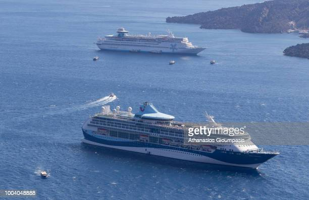 Cruise ship, Ferry and boats in The Santorini Caldera on July 17, 2018 in Santorini, Greece.