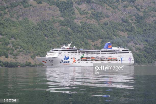 """cruise ship grand mistral of ibero cruises  in the aurlandsfjord in norway - """"sjoerd van der wal"""" or """"sjo"""" stock pictures, royalty-free photos & images"""