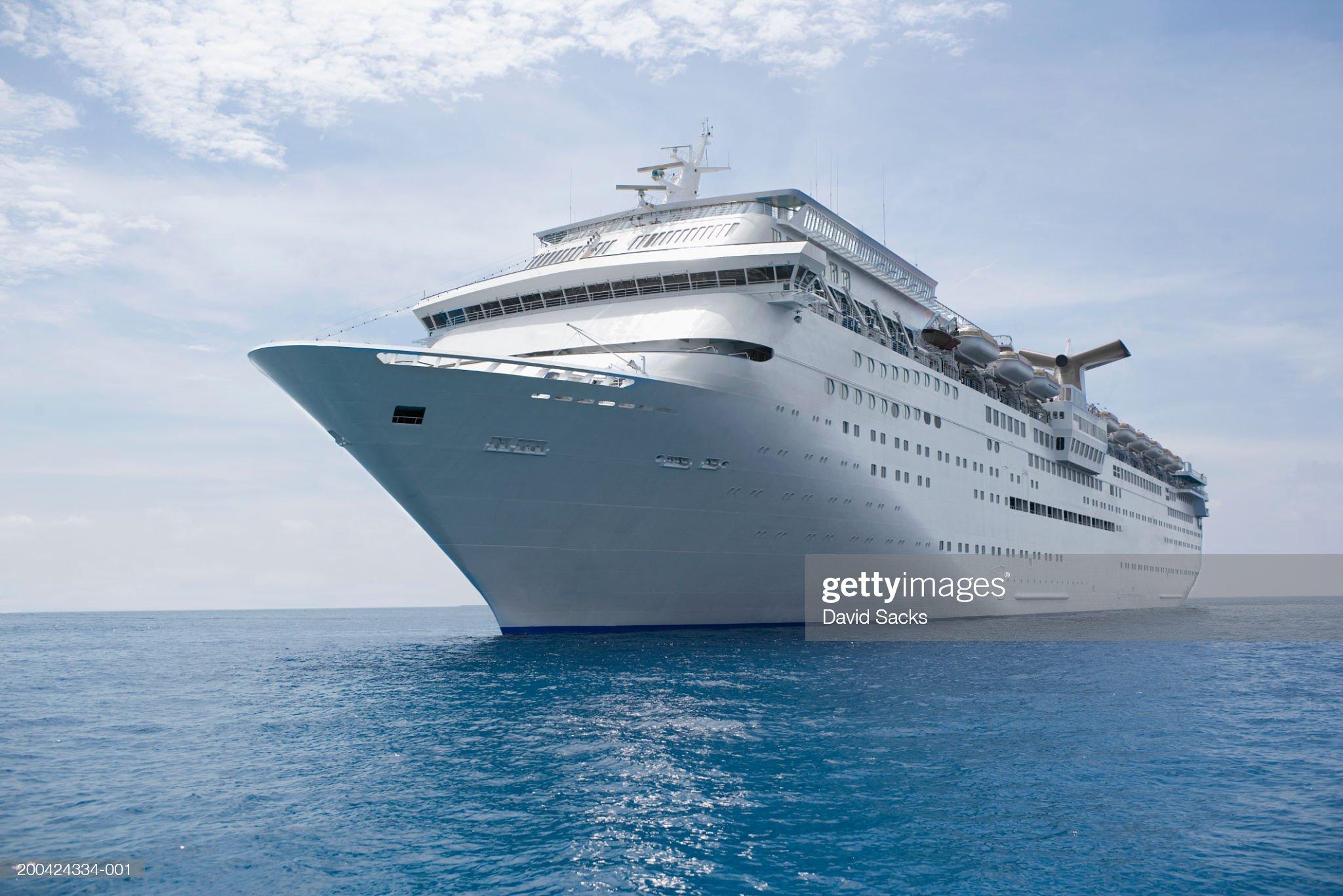 Cruise ship in caribbean sea : Stock Photo
