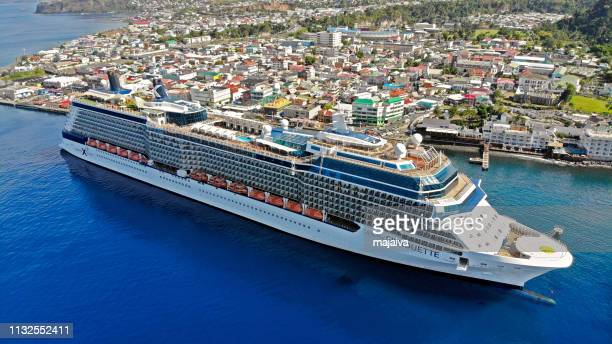 cruise ship in dominica - dominica stock pictures, royalty-free photos & images
