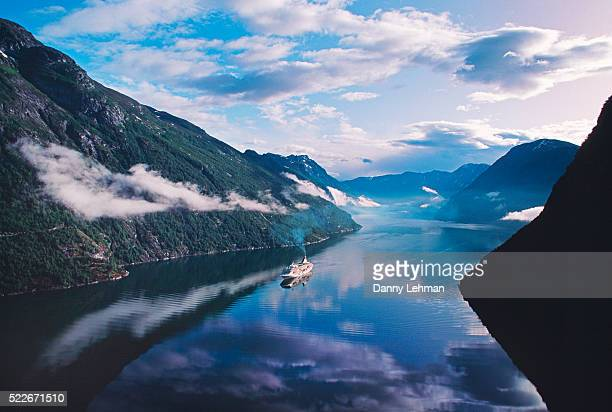 Cruise ship in Geiranger Fjord in Norway