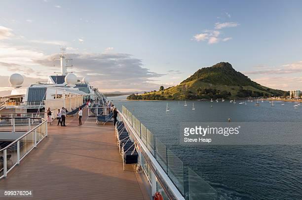 Cruise ship in the bay at Tauranga, New Zealand at dusk