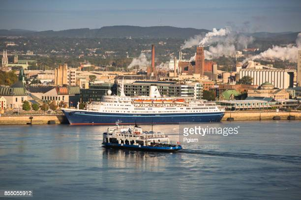 cruise ship in the quebec city harbor on the saint lawrence river in canada - river st lawrence stock pictures, royalty-free photos & images
