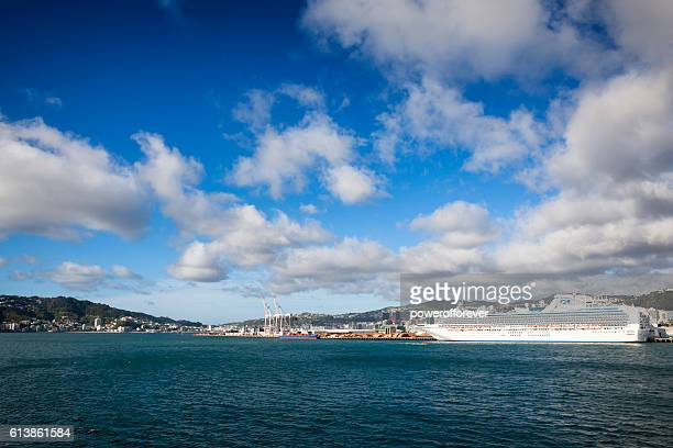 Cruise ship in Wellington Harbour, New Zealand