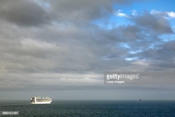 A cruise ship leaving Southampton
