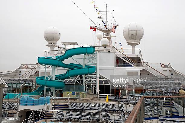 Cruise ship Lido deck with sun and swimming pool cruise out of Galveston Texas to Jamaica Grand Cayman and Cozumel Mexico