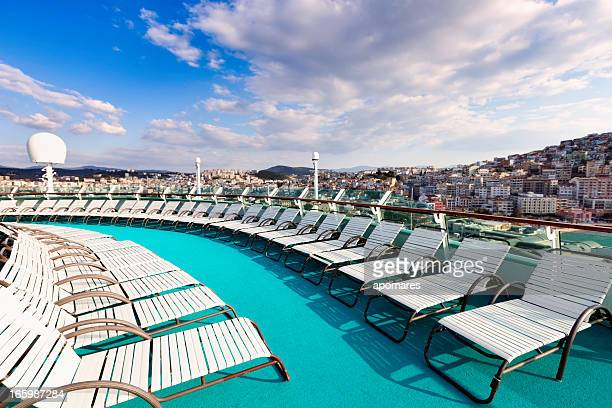 cruise ship lounge chairs - boat deck stock pictures, royalty-free photos & images