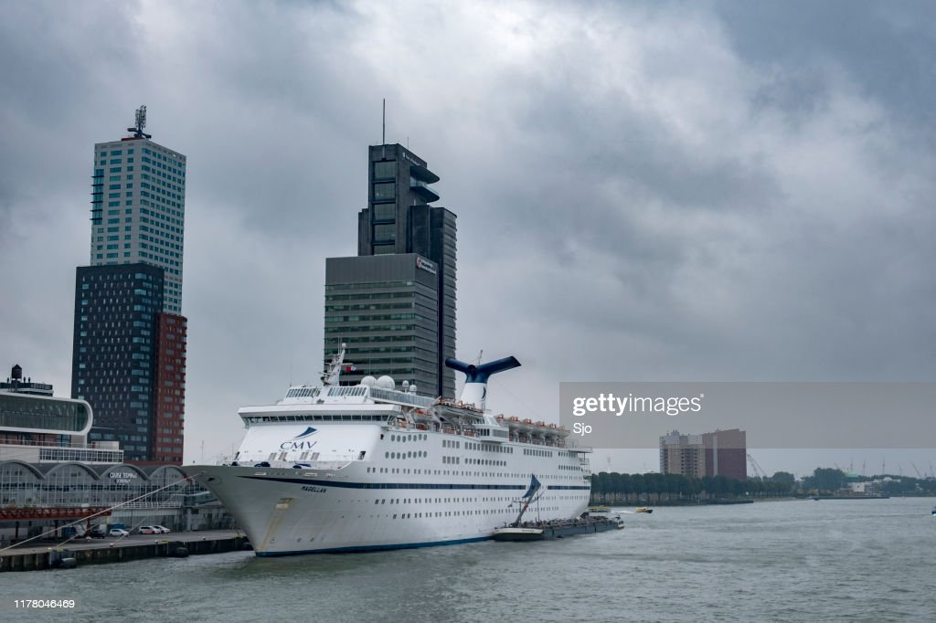 Cruise ship MS Magellan moored in the port of Rotterdam, The Netherlands : Stock Photo