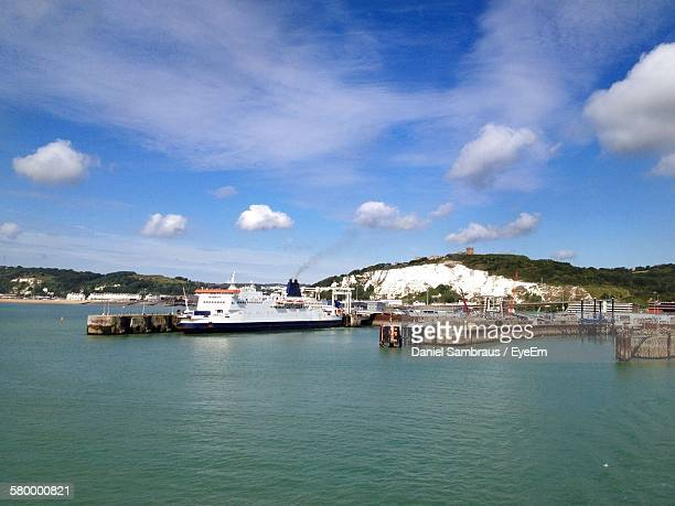 Cruise Ship Moored At Pier In Port Of Dover Against Sky