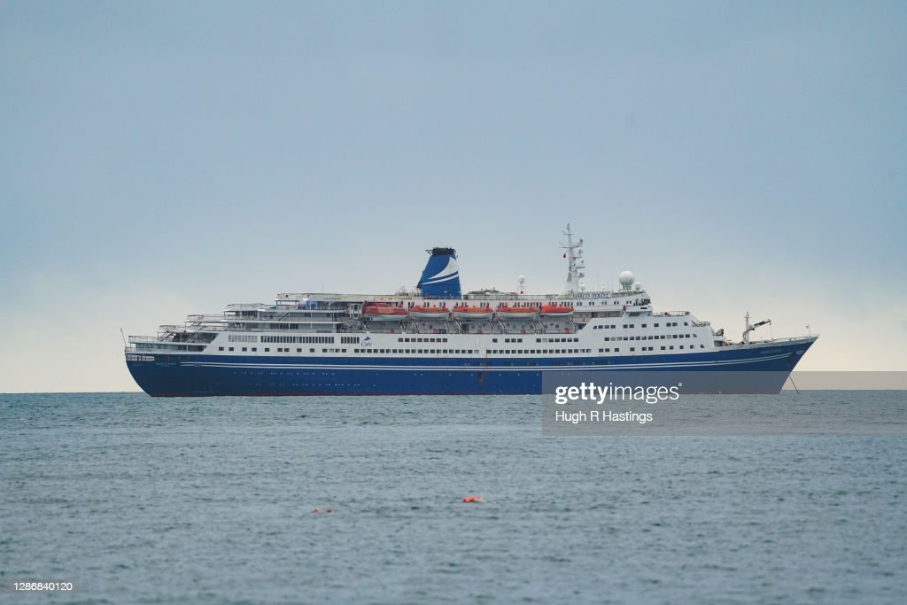 Cruise Ship Destined For Scrap Anchors In Falmouth : News Photo