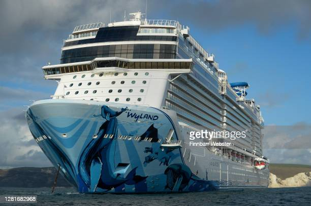 Cruise ship Norwegian Bliss anchored in the English Channel off the Dorset coast as the industry remains at a standstill due to the coronavirus...