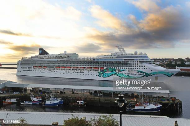 Cruise ship Norwegian Jade enters the Tyne from the North Sea and passes North Shields Fish Quay