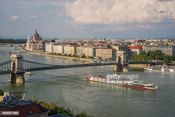 Cruise ship on the Danube under the Chain Bridge