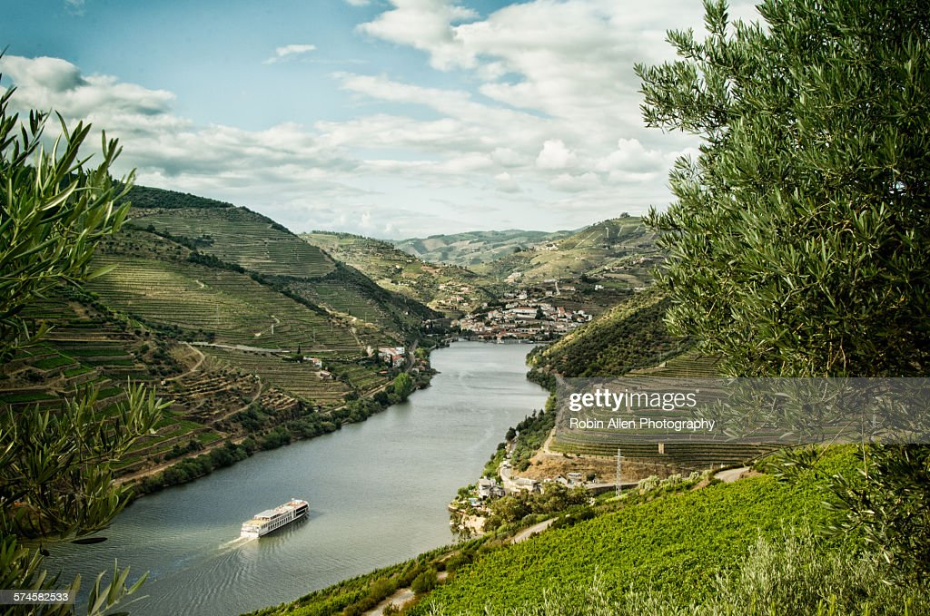 Cruise ship on the upper Douro River : Stock Photo