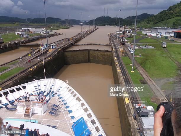 Cruise Ship sailing through the Panama Canal