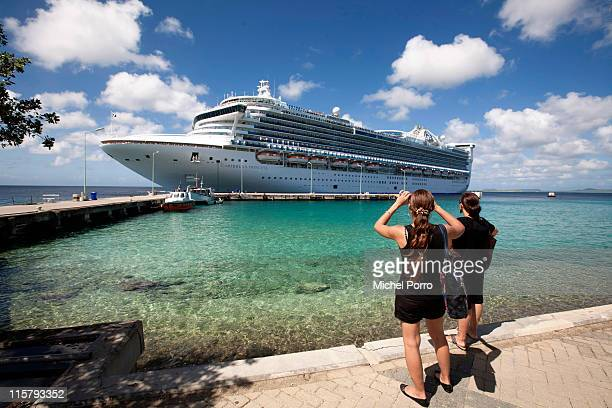 Cruise ship sails into Kralendijk harbour on February 3, 2011 on the island of Bonaire. Bonaire has earned a reputation for being one of the most...