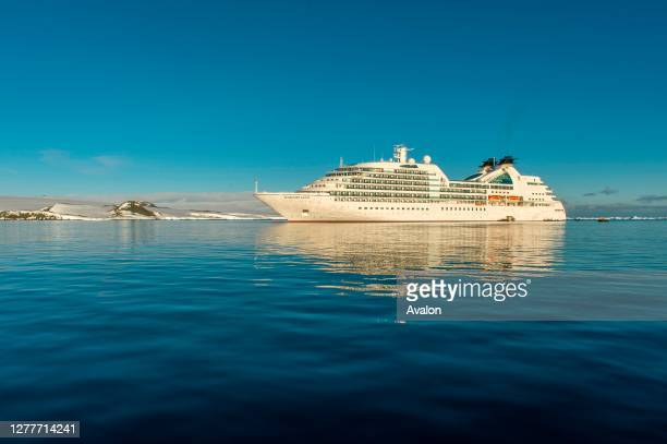 Cruise ship Seabourn Quest sailing in the Antarctic Sound near Hope Bay in the Antarctic Peninsula region.