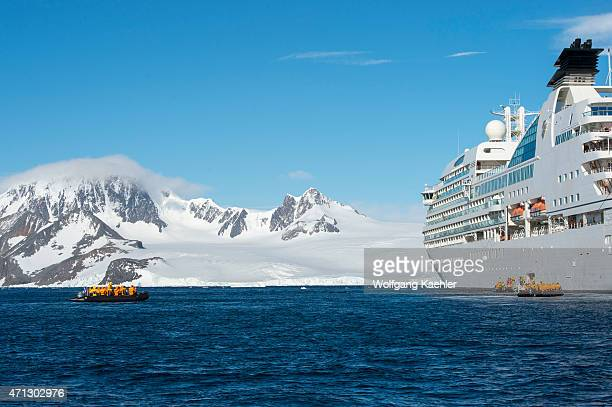 Cruise ship Seabourn Quest with passengers in zodiac in the Antarctic Sound at Hope Bay in the Antarctic Peninsula region