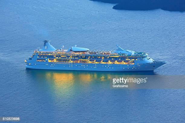 Cruise ship seen from island Santorini, Greece
