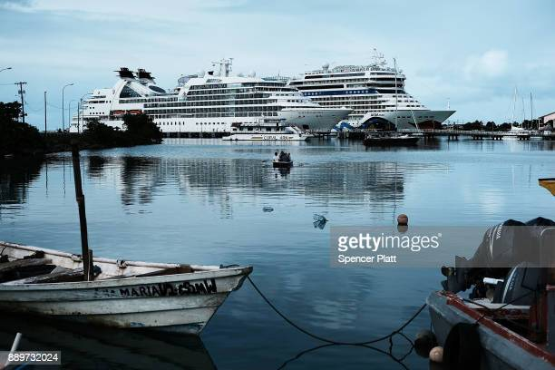 A cruise ship sits in the harbor on December 10 2017 in St John's Antiqua While it's sister island Barbuda was nearly destroyed by Hurricane Irma...
