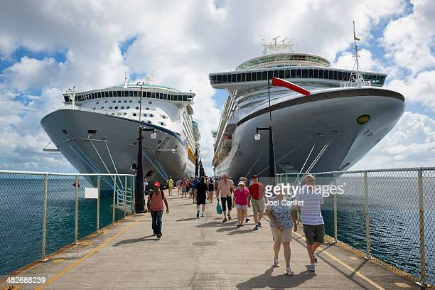 Cruise ships and passengers in port of Basseterre, St. Kitts
