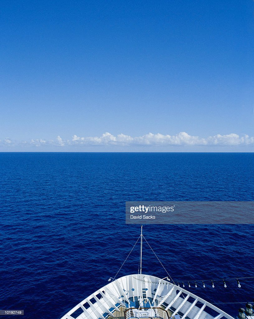 Cruise ship's bow and open sea, elevated view, Caribbean : Stock Photo