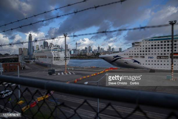 Cruise ships docked in White Bay Terminal on March 26, 2020 in Sydney, Australia. Further restrictions on travel and movement have been put in to...