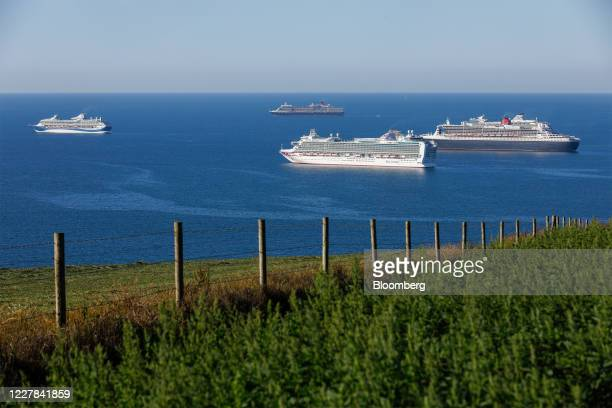 Cruise ships, from left to right, Marella Explorer 2, operated Tui AG, Queen Elizabeth, operated by Cunard Line Ltd., Azura, operated by P&O Cruises,...