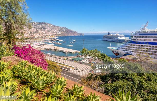 cruise ships in funchal, madeira - funchal stock pictures, royalty-free photos & images