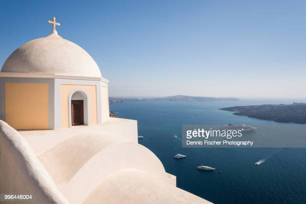 cruise ships in the aegan sea in santorini - mediterranean sea stock pictures, royalty-free photos & images