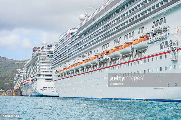 Cruise ships in tropical Caribbean port