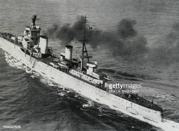 Cruiser Alberto da Giussano in navigation July 17 Italy 20th century