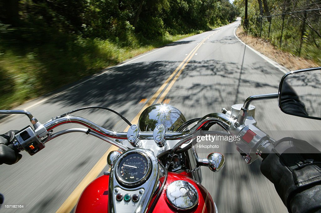 Cruiser motorcycle on a open road : Stock Photo
